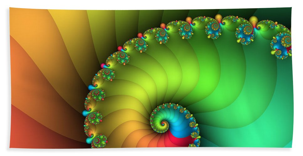Fractal Hand Towel featuring the digital art End Of The Rainbow by Jutta Maria Pusl