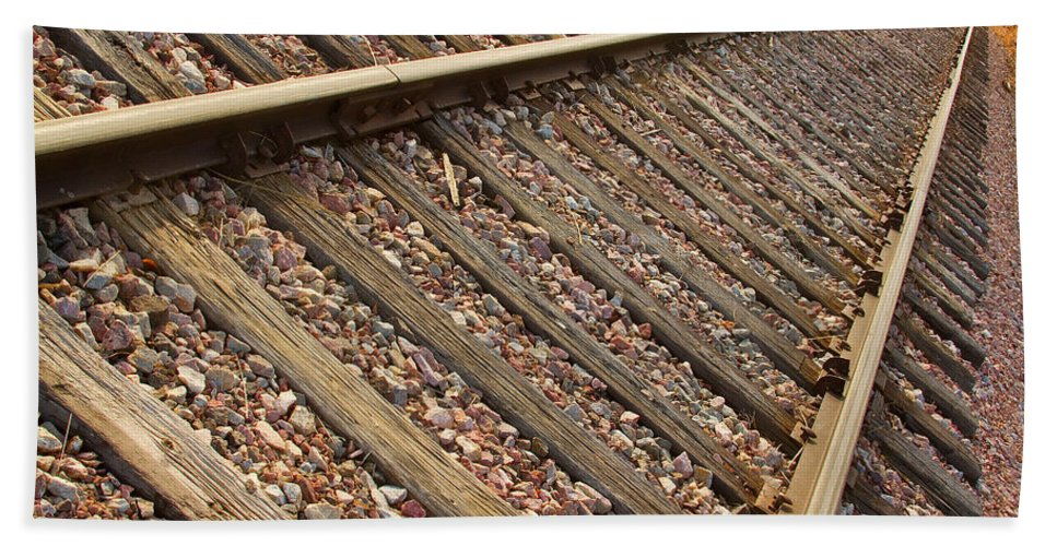 Train Hand Towel featuring the photograph End Of The Tracks by James BO Insogna
