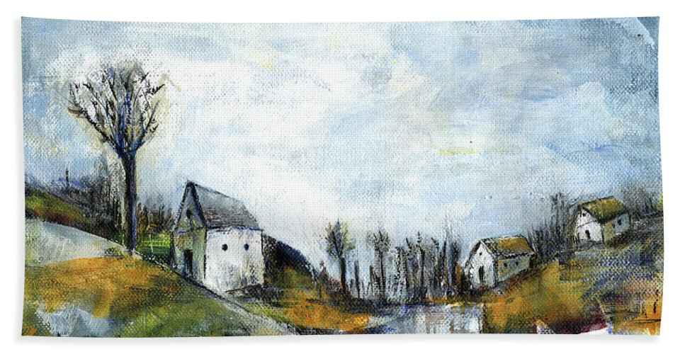 Landscape Bath Towel featuring the painting End Of Winter - Acrylic Landscape Painting On Cotton Canvas by Aniko Hencz