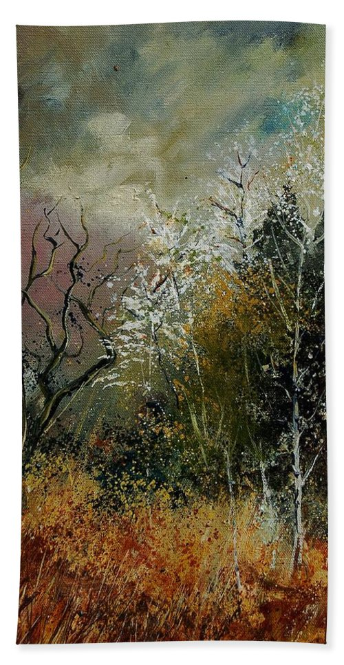 River Hand Towel featuring the painting End Of Winter by Pol Ledent