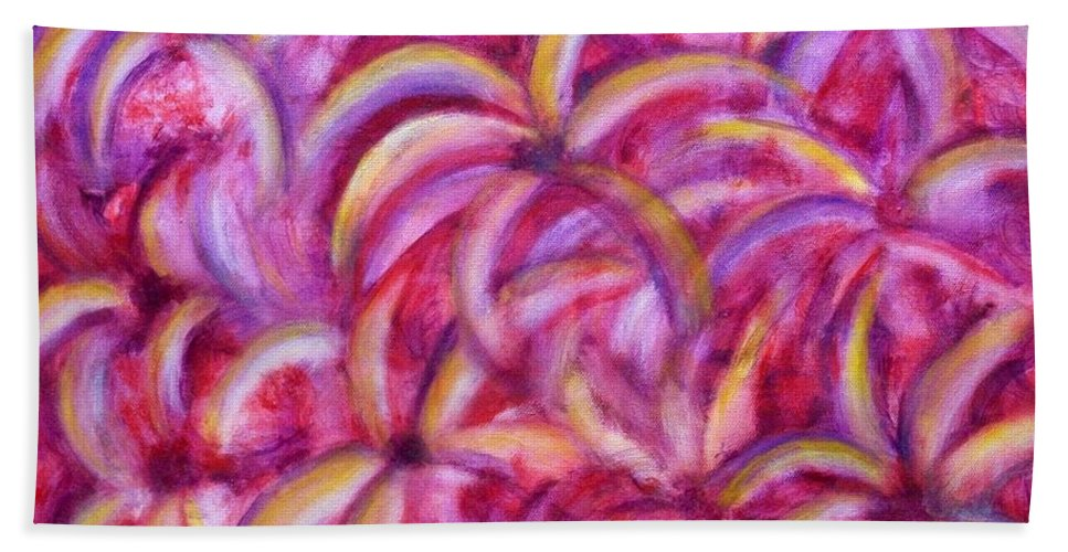 Abstract Bath Sheet featuring the painting Going Bananas by Brenda Drain