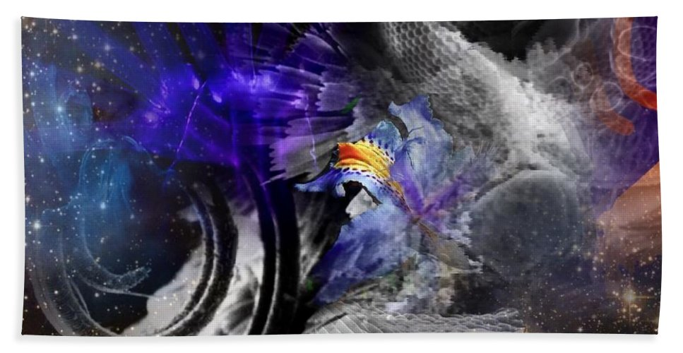 Abstract Bath Sheet featuring the mixed media Energy Fields 5 by Janis Kirstein