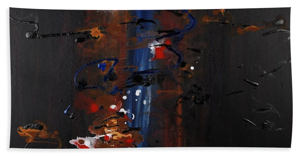 Black Bath Towel featuring the painting Energy by Nadine Rippelmeyer