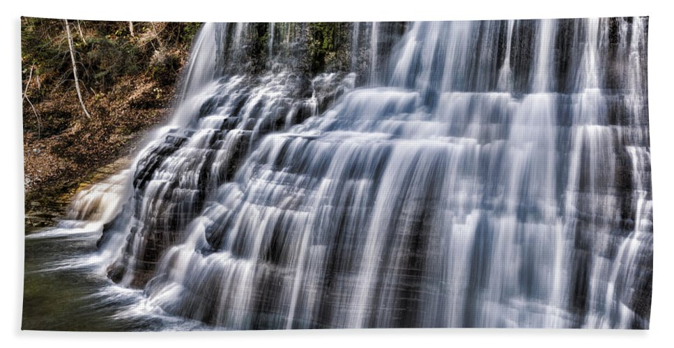 Ithaca Hand Towel featuring the photograph Lower Falls #4 by Stephen Stookey