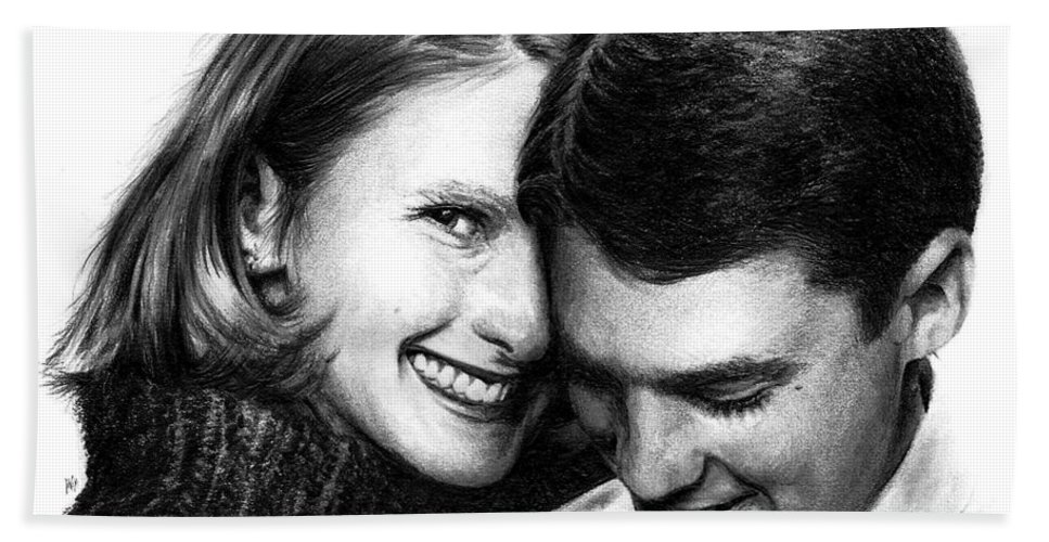 Portrait Hand Towel featuring the drawing Engaged by Rachel Christine Nowicki