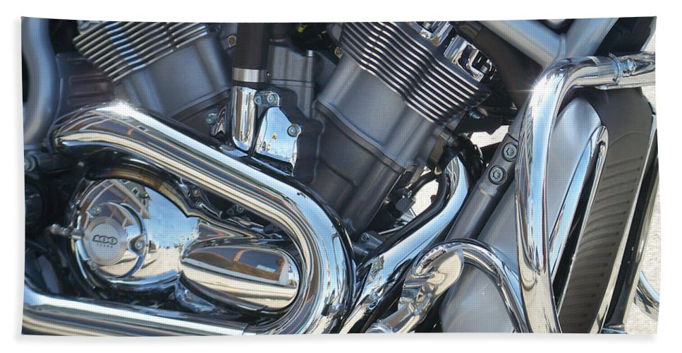 Motorcycle Bath Sheet featuring the photograph Engine Close-up 1 by Anita Burgermeister