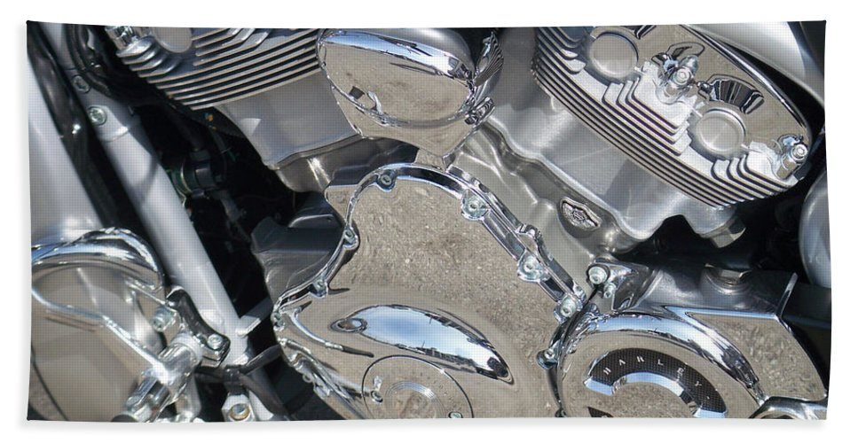 Motorcycle Bath Towel featuring the photograph Engine Close-up 2 by Anita Burgermeister