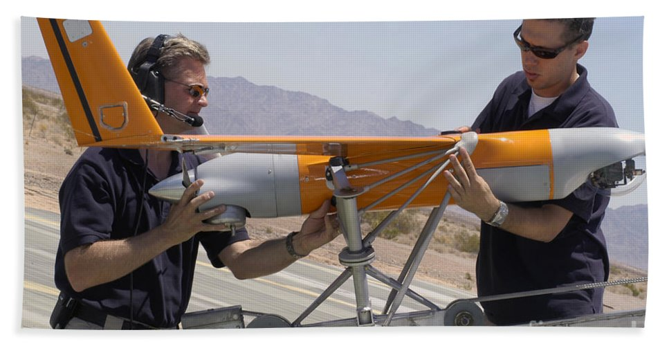 Boeing Hand Towel featuring the photograph Engineers Mount A Scaneagle Unmanned by Stocktrek Images