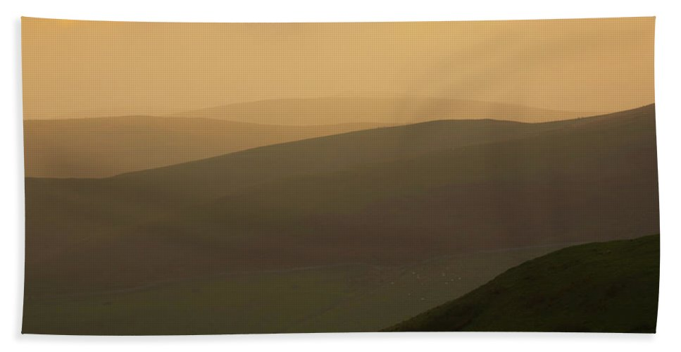 Northumberland Hand Towel featuring the photograph England, Northumberland, Northumberland National Park. Sunset Over The Rolling Cheviot Hills, Viewed by Jason Friend