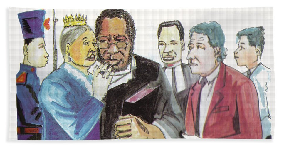 Religion Hand Towel featuring the painting England Queen With Ajayi Crowther by Emmanuel Baliyanga