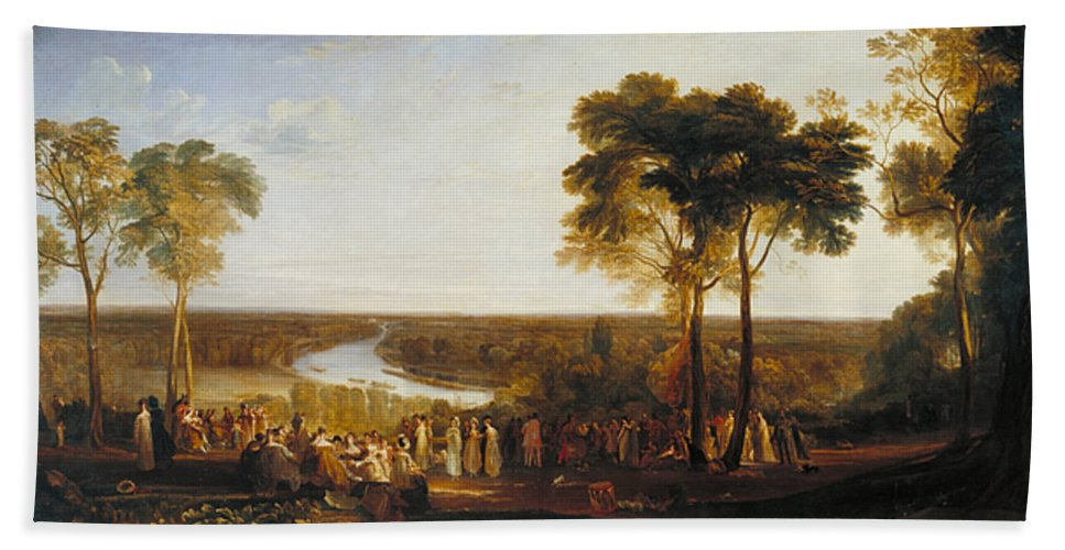British Hand Towel featuring the painting England, Richmond Hill, On The Prince Regent's Birthday by JMW Turner