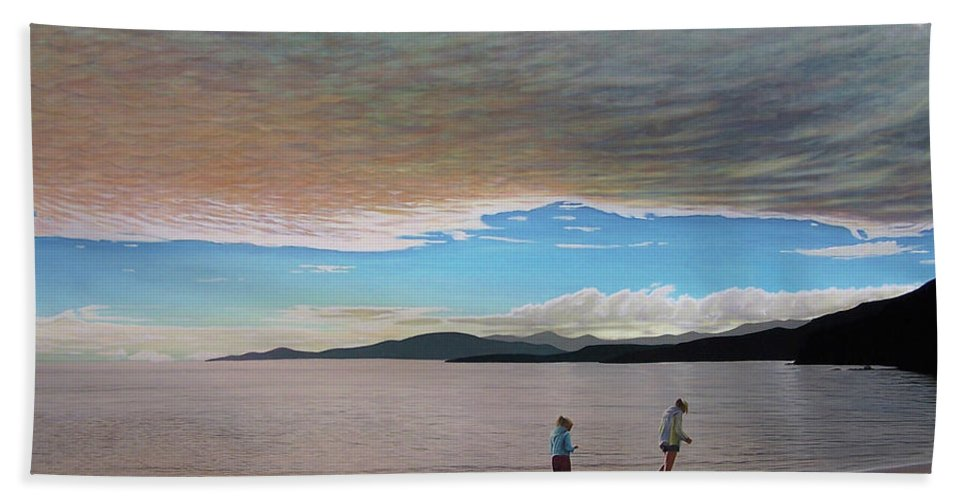 Landscapes Bath Towel featuring the painting English Bay Vancouver by Kenneth M Kirsch