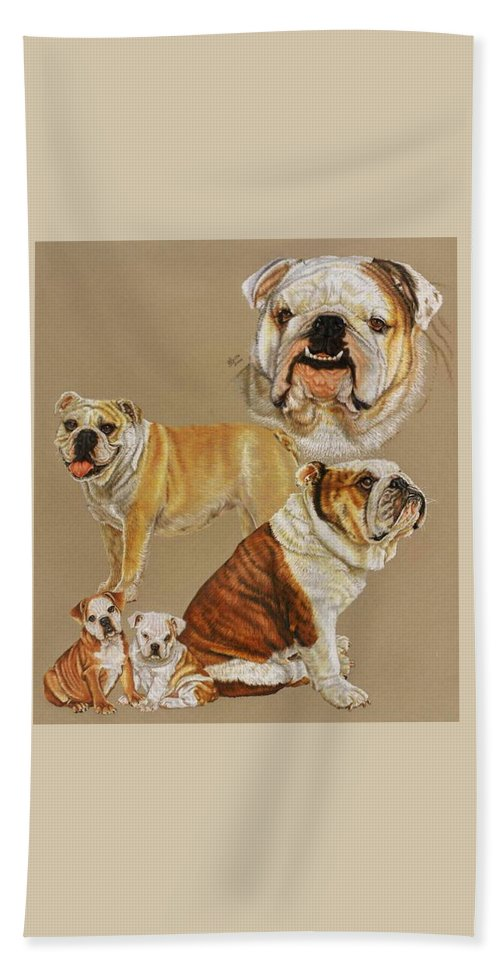 Purebred Bath Towel featuring the drawing English Bulldog by Barbara Keith