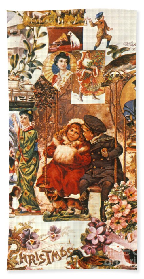 19th Century Hand Towel featuring the photograph English Christmas Cards by Granger