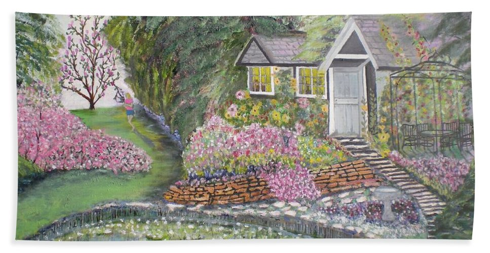 Cottage Bath Towel featuring the painting English Cottage by Hal Newhouser