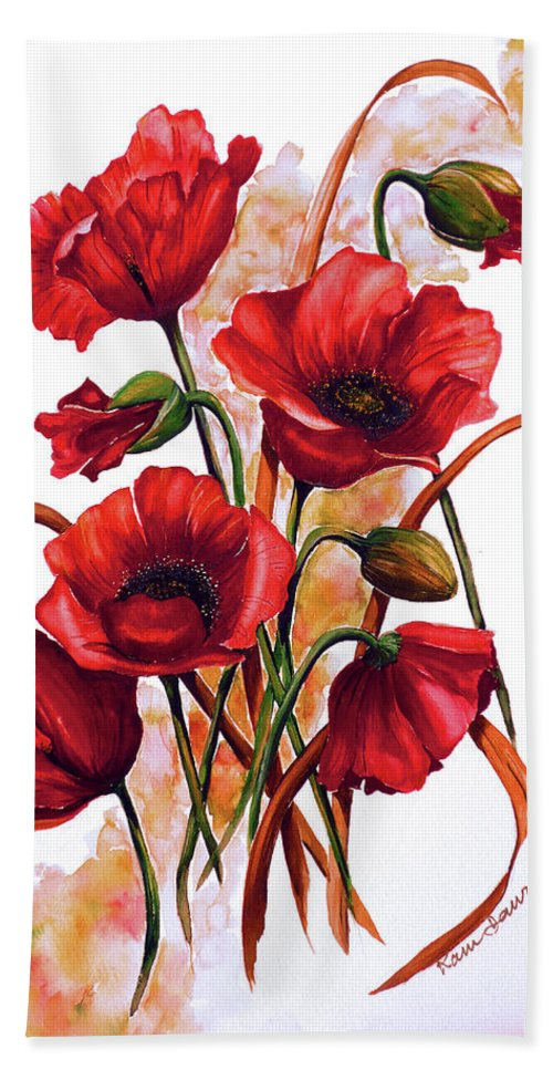 Red Poppies Paintings Floral Paintings Botanical Paintings Flower Paintings Poppy Paintings Field Poppy Painting Greeting Card Paintings Poster Print Painting Canvas Print Painting  Bath Sheet featuring the painting English Poppies 2 by Karin Dawn Kelshall- Best