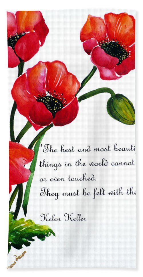 Poppy Painting Bath Sheet featuring the painting English Poppy  Poem by Karin Dawn Kelshall- Best