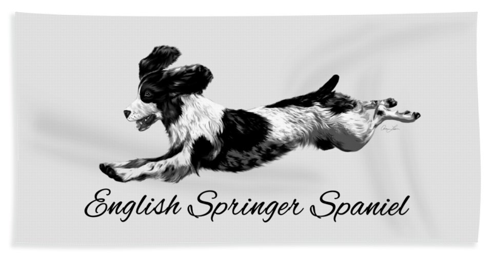 Dog Hand Towel featuring the digital art English Springer Spaniel by Ann Lauwers