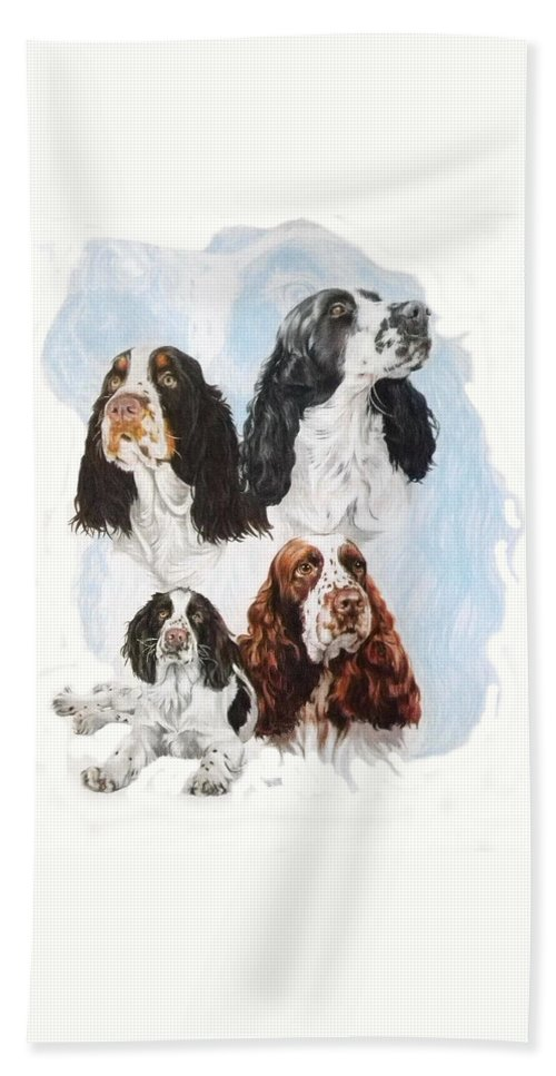 Purebred Bath Towel featuring the mixed media English Springer Spaniel W/ghost by Barbara Keith