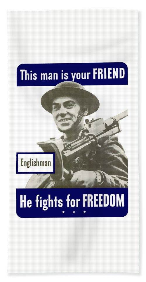 English Army Hand Towel featuring the painting Englishman - This Man Is Your Friend by War Is Hell Store