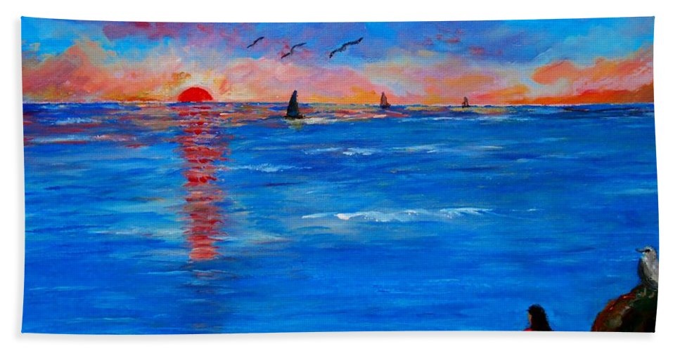 Sunset Hand Towel featuring the painting Enjoying The Sunset Differently by Konstantinos Charalampopoulos