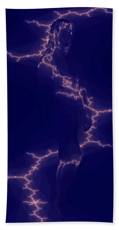 Woman Lightening Blue Digital Drawing Illusion Original Bath Sheet featuring the digital art Enlightening by Andrea Lawrence
