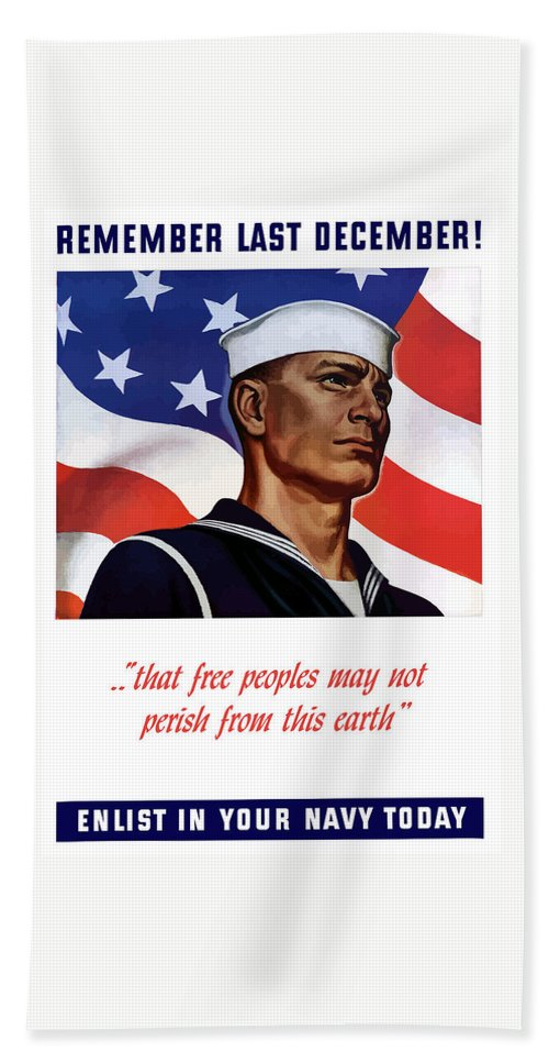 Navy Bath Sheet featuring the painting Enlist In Your Navy Today - Ww2 by War Is Hell Store