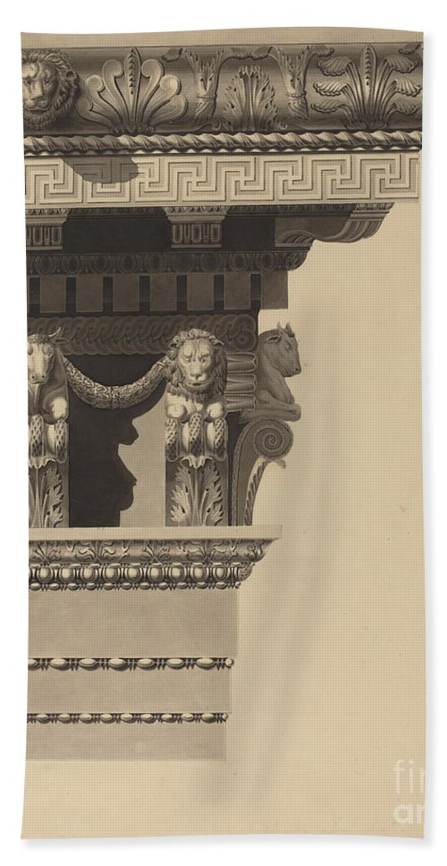 Hand Towel featuring the drawing Entablature by Auguste Delacouture