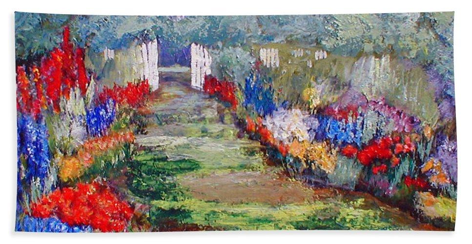 Landscape Bath Towel featuring the painting Enter His Gates by Gail Kirtz