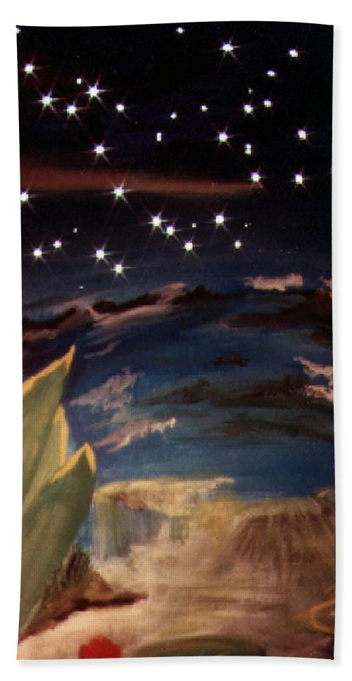 Surreal Bath Sheet featuring the painting Enter My Dream by Steve Karol