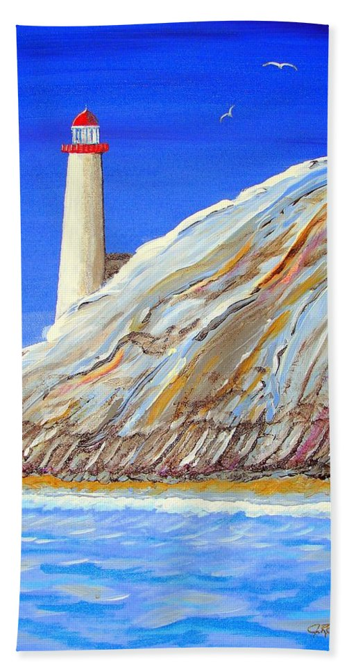 Lighthouse Bath Towel featuring the painting Entering The Harbor by J R Seymour