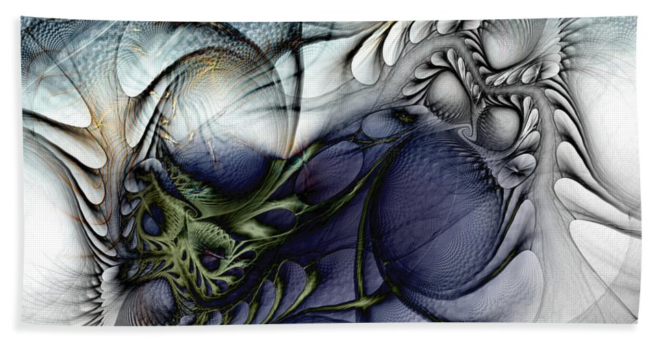 Abstract Bath Sheet featuring the digital art Enterolithic by Casey Kotas