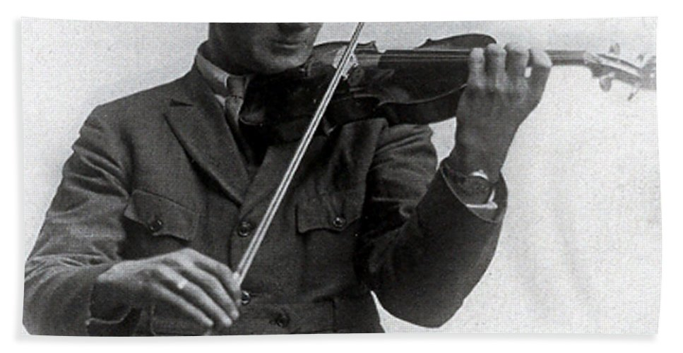 Old Photo Black And White Classic Saskatchewan Pioneers History Fiddle Violin Hand Towel featuring the photograph Entertainer by Andrea Lawrence
