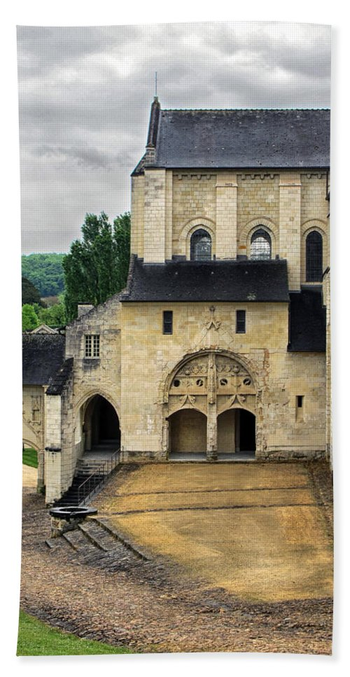 Fontevraud Abbey Hand Towel featuring the photograph Entrance To Fontevraud Abbey by Dave Mills