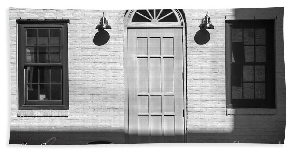 Black And White Hand Towel featuring the photograph Entry by Rrea Brown