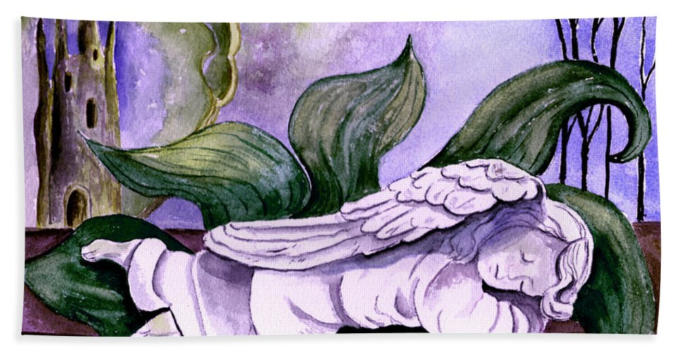 Watercolor Fantasy Angel Sleeping Castle Trees Sun Moon Scenic Scenery Bath Towel featuring the painting Envisage by Brenda Owen