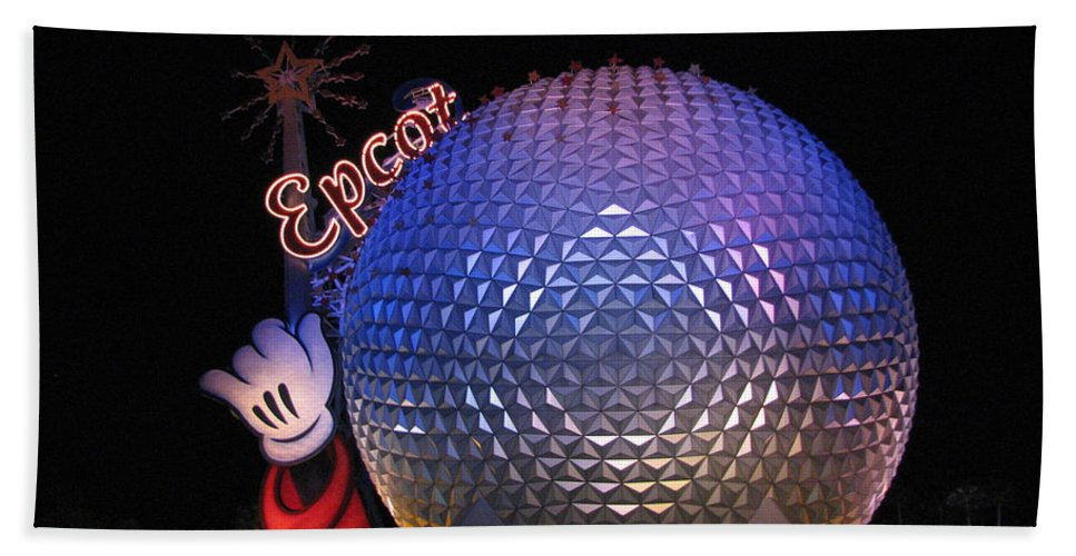 Epcot Bath Sheet featuring the photograph Epcot At Night by Stacey May