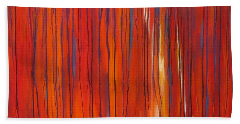 Abstract Hand Towel featuring the painting Ephemeral by Soraya Silvestri