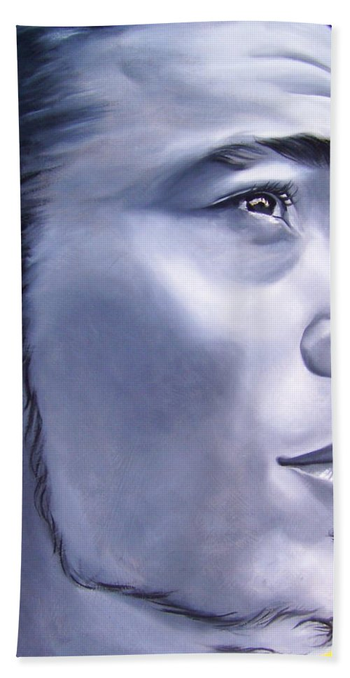 Portraiture Bath Sheet featuring the painting Ephrain by Laura Pierre-Louis