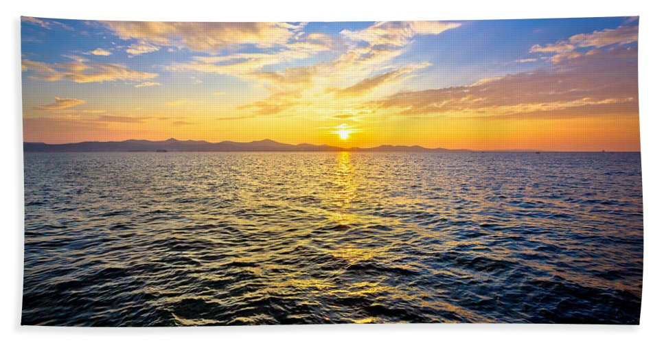 Croatia Hand Towel featuring the photograph Epic Colorful Sunset On Sea by Brch Photography