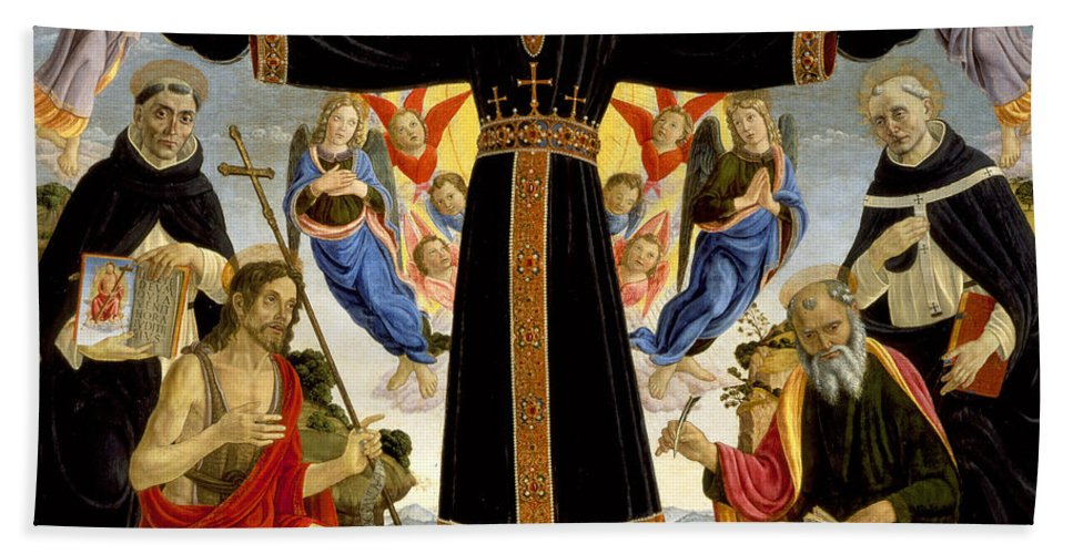 Master Of The Fiesole Hand Towel featuring the painting Epiphany by Master of the Fiesole
