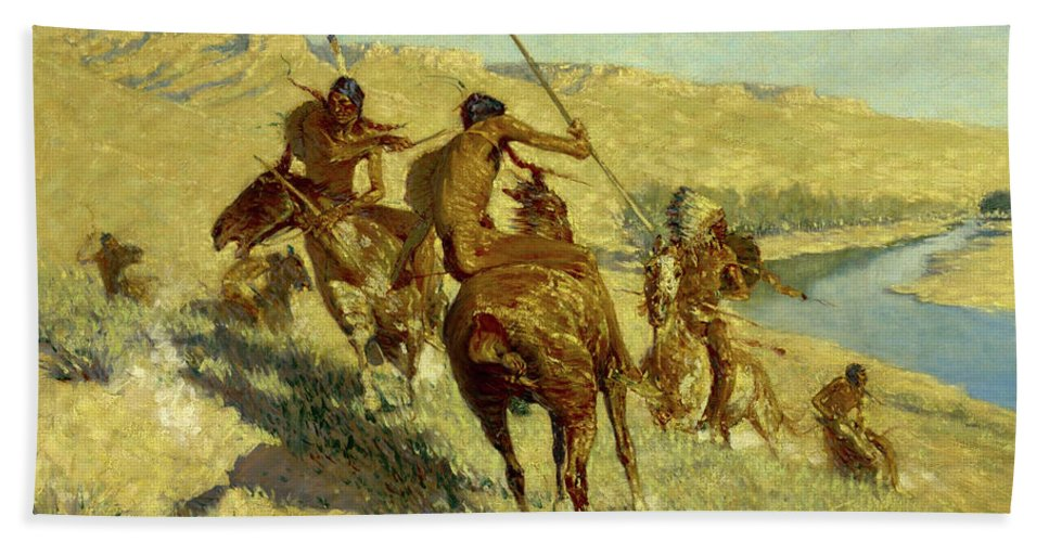 Native Americans Bath Sheet featuring the painting Episode Of The Buffalo Gun by Frederic Sackrider Remington