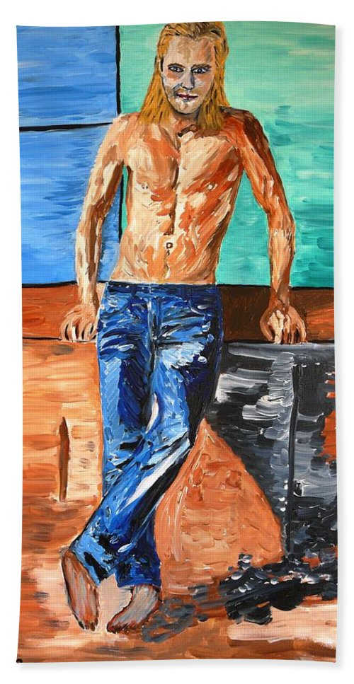 Eric Hand Towel featuring the painting Eric Northman by Valerie Ornstein