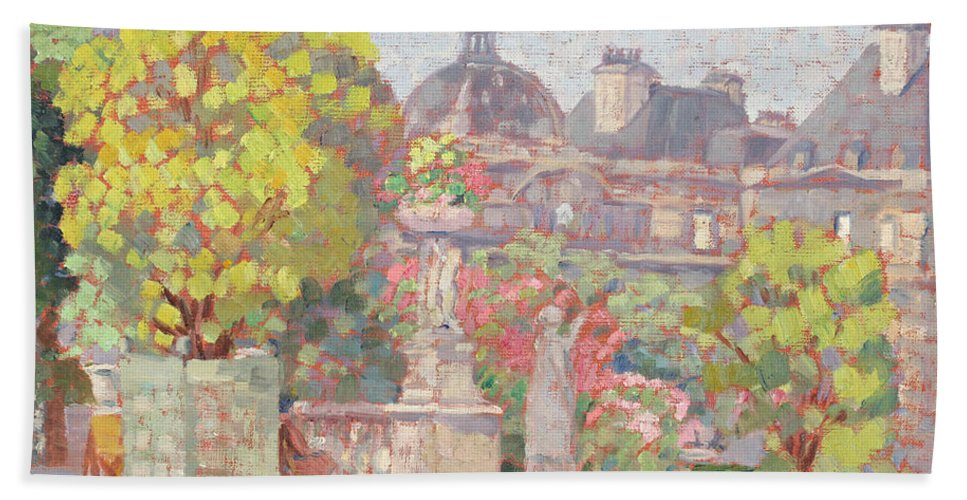 Luxembourg Garden By Ernest Moulines (1870-1942) Hand Towel featuring the painting Ernest Moulines by MotionAge Designs