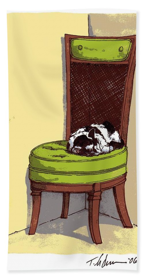 Cat Hand Towel featuring the drawing Ernie And Green Chair by Tobey Anderson