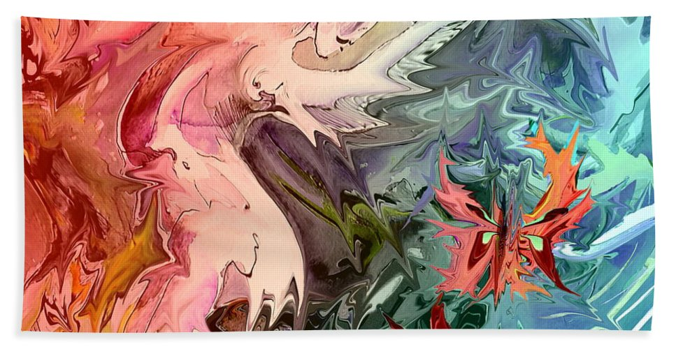 Miki Bath Sheet featuring the painting Eroscape 08 1 by Miki De Goodaboom