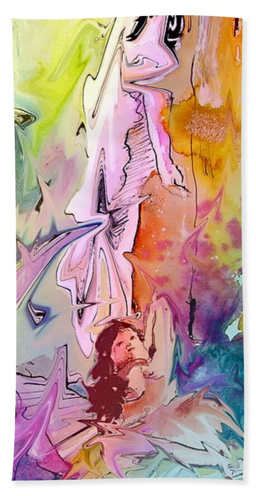 Miki Hand Towel featuring the painting Eroscape 09 1 by Miki De Goodaboom