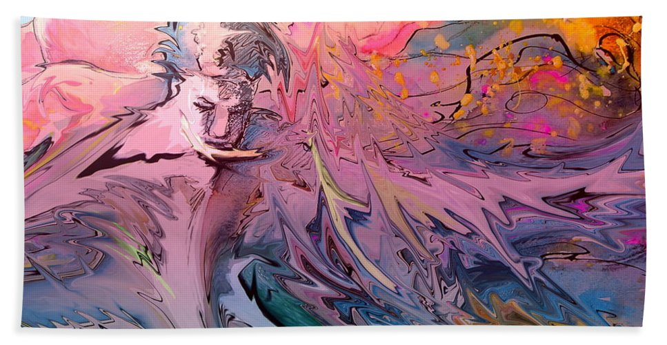 Miki Bath Sheet featuring the painting Eroscape 10 by Miki De Goodaboom