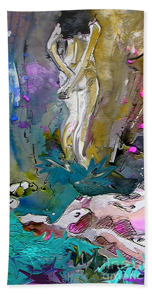 Miki Bath Sheet featuring the painting Eroscape 1104 by Miki De Goodaboom