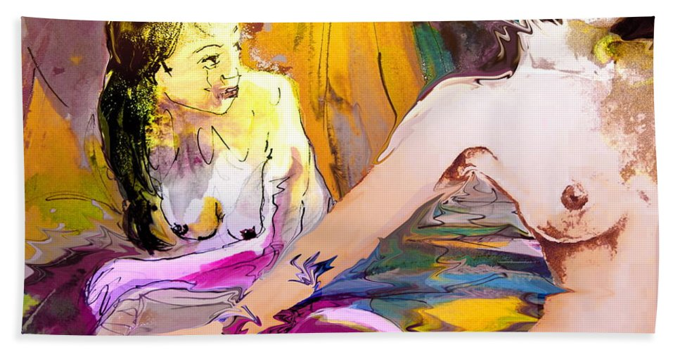 Miki Bath Towel featuring the painting Eroscape 15 2 by Miki De Goodaboom